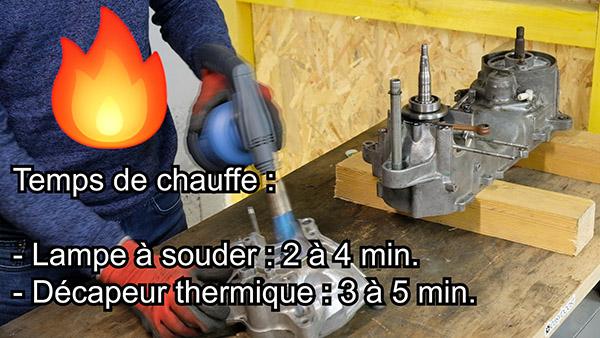 Chauffer le carter côté allumage avec un décapeur thermique